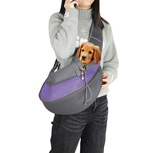 Qchengsan Bolsa de transporte para mascotas, bolsa de transporte para perros y gatos, bolsa de transporte para mascotas, bolsa de transporte de mano, bolsa de viaje para mascotas (L, morado)