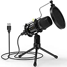 USB Microphone, NJSJ PC Condenser Recording Microphone with Tripod Stand & Pop Filter for Streaming, Podcasting, Voice Over, Skype, YouTube, Compatible with Laptop Desktop Windows Mac Computer -C300A