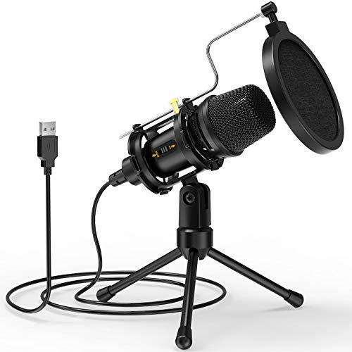  Microfono USB, microfono a condensatore per PC con treppiede e filtro pop per streaming, podcasting, voce sopra, Skype, registrazione vocale,
