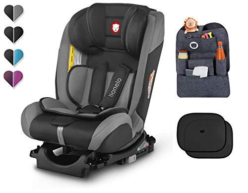 LIONELO SANDER ISOFIX - Asiento infantil para coche (0-36 kg, asiento giratorio, organizador y parasol), color g