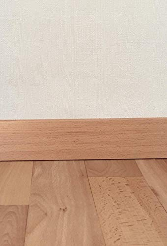 Sockelleisten mit Nut in Buche Akzent | Fußleisten mit MDF-Kern | Fußbodenleisten in den Maßen 2,4m x 5,8cm | Wandabschlussleiste mit rückseitiger Clipfräsung & geradem Abschluss | MADE IN GERMANY