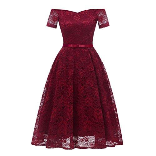 TWIFER Vintage Prinzessin Blumenspitze Cocktail aus Schulter Damen Kleider Party A-Linie Swintwiferochzeit Langes Dress (XL, Weinrot)