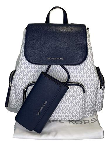 Bundle of 3 items: MICHAEL Michael Kors Abbey Large Cargo Backpack bundled with Michael Kors Jet Set Travel Trifold Wallet and Michael Kors Dust Bag Top flap with snap closure, front zipped pocket, two side zipped pockets, Top handle as well as adjus...