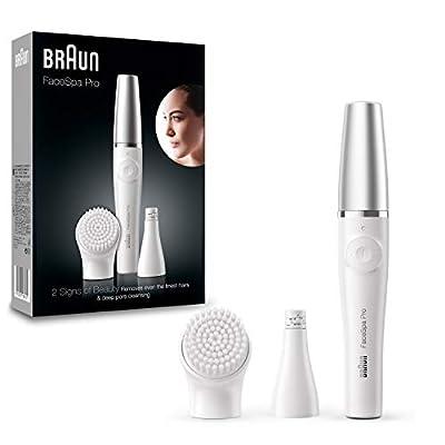 Braun FaceSpa Pro 910 Facial Hair epilator with a Silver Cap, White, Silver