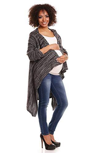 PeeKaBoo Umstands-Cardigan/Still-Jacke aus warmem Strick, Melange Black - one Size (38-42)