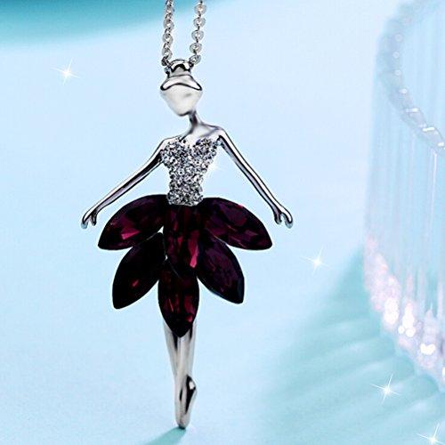 OULII Collar Bailarina Ballet Danza Colgante Joyería de Cristal para Mujeres (Púrpura)