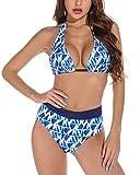 heekpek Bikinis Mujer Push Up High Waisted Bikini Halter V Cuello Ajustable en Contraste de Color Bañador de Dos Piezas Conjunto Bikini Mujer