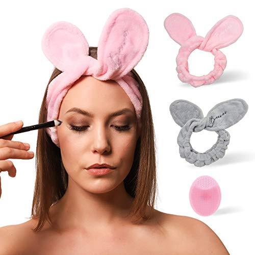 BAAW ME Haarband für Make up | 2 Stück Kosmetische Stirnbänder| Elastisches Haarband zum Waschen und für Gesichtspflege | Perfekt zum Halten der Haare
