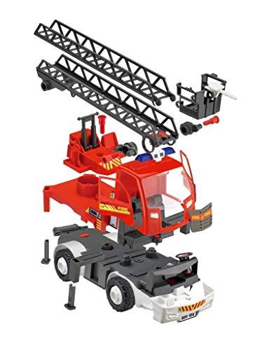 Revell Junior Kit 00974 Feuerwehrauto Drehleiter und 2.4 GHz Fernbedienung ferngesteuertes Auto zum Selberbauen, Bauen-Schrauben-Spielen für Kinder ab 4, mit patentierten Schraubsystem, Rot