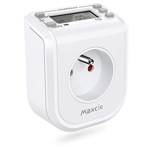 Maxcio Mini-Steckdose, programmierbar, digital, 16 ON/OFF, Programme und Countdown, Zeitschaltuhr, elektrische Steckdose, energiesparend, für Aquarium und Warmwasser