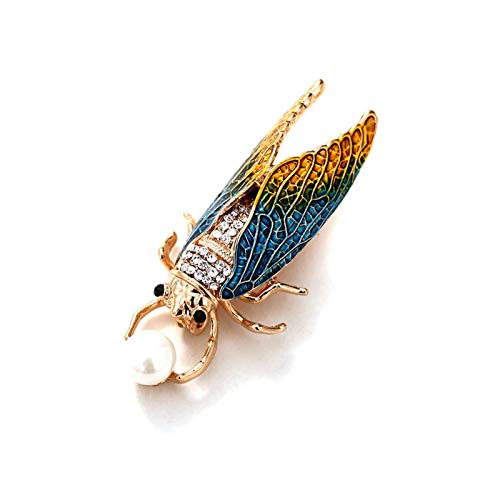 2 Pcs Handmade Oil Dripping Insect Brooch Jin Chan Zhizhi Brooch Unisex Blue Gold Decoration