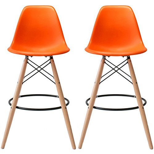 """2xhome - Set of Two (2) - Orange - 25"""" Seat Height DSW Molded Plastic Modern Counter Stools with Backs and armless Natural Legs Wood Eiffel Legs Dowel-Leg"""