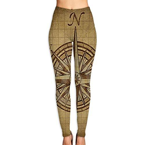 Leggings Estampados de navegación con brújula Vintage para Mujer, Leggings de Entrenamiento de Yoga de Cuerpo Entero, Pantalones Capri Suaves