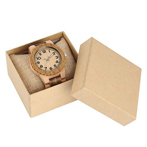 PLUIEX Holzuhr Vollholz Herrenuhr Ahornholz grün Sandelholz Quarz Uhrwerk Herrenuhr Holzgeschenke Männlich Retro Armbanduhr, Uhr mit Box