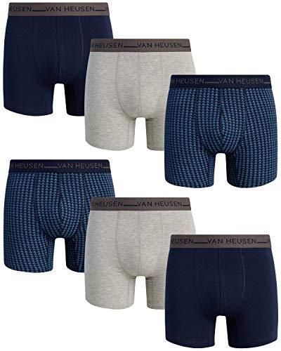 Van Heusen Men's Stretch Cotton Boxer Briefs (6 Pack), Size X-Large, Navy/Blue Print/Grey
