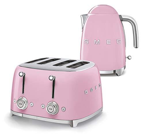 Smeg 50s Retro 4-Slot Toaster TSF03 Bundle with Smeg KLF03 Electric Kettle (Pastel Pink)