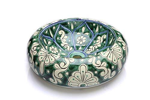 Baila - Talavera Aufsatzwaschtisch - Cerames | Aufsatzwaschbecken 40 cm | Mexiko Waschschale für Badezimmer Gäste WC Gästebadezimmer Küche