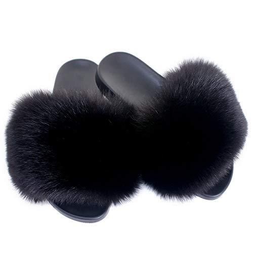 Fell Latschen Pelz Pantoffeln mit schwarz Fuchs Echtfell Echtpelz Schlappen Sandalen mit Pelz Fuchsfell Slipper Slides Schuhe Pantoletten (40 EU)