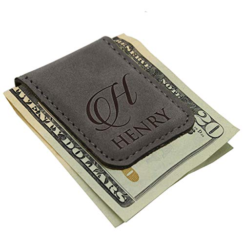 monogrammed leather money clip - 1