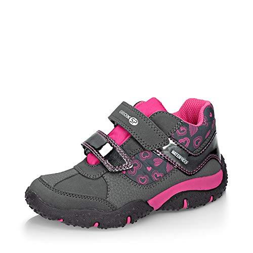 Geox Mädchen Low-Top Sneaker Baltic Girl WPF, Kinder Sneaker,Halbschuh,Sportschuh,Klettschuh, Klett-Verschluss,DK Grey/Fuchsia,33 EU / 1 UK