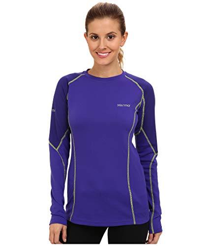 Marmot ThermalClime Pro T-Shirt à Manches Longues et col Rond pour Femme Bleu Bleu électrique/Violet foncé Large