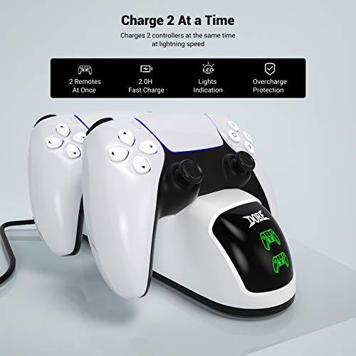 Likorlove PS5 Ladestation mit 2 LED-Anzeige, PS5 Controller Charger für original Sony PlayStation 5 Konsole, PS5 Zubehör Ladegerät mit 2 TypeC Ladekopf, mit PS5 Wireless DualSense Controller Ladegerät