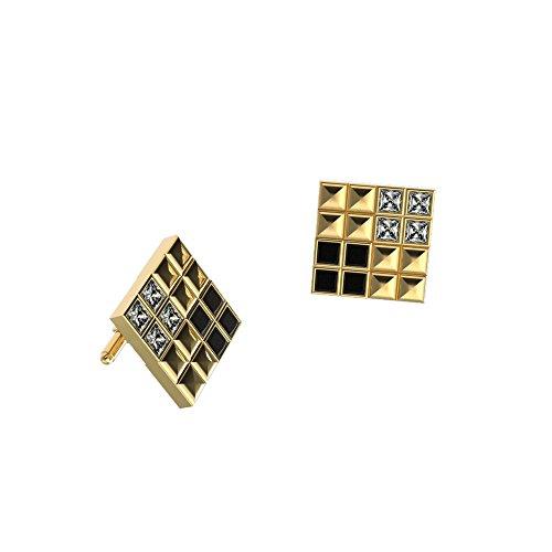 JewelsForum Herren-Manschettenknöpfe 0,20 Ct Weißer Princess-Diamant 9 Kt Massives Gold Manschettenknöpfe 0,20 Ct Schwarzer Diamant Designer-Manschettenknöpfe Bullet-Back (Gelbgold)