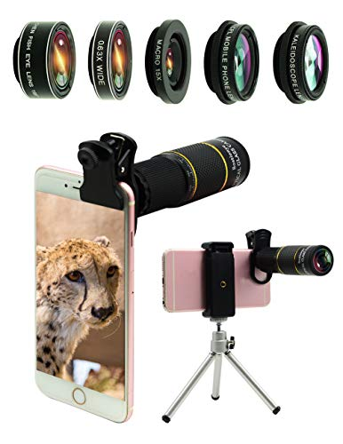 Phone Camera Lens Kit 10 in 1 for iPhone Samsung Pixel Android, 22X Telephoto Lens, 0.63Wide Angle Lens&15X Macro Lens, 198° Fisheye Lens,Kaleidoscopes, CPL+Tripod,for Most Smartphone