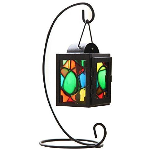 Unbekannt WFZ17 Kerzenständer, Eisen, buntes Glas, zum Aufhängen, Kerzenhalter, Laternenständer für Hochzeit, Heimdekoration Schwarz