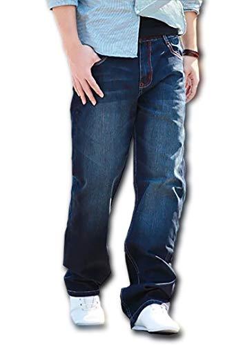 (Make 2 Be) デニム 豊富なサイズ ストレート ジーンズ ゆったり ワイド ジーパン メンズ 27-48 インチ MF64 (27.Blue(ステッチ赤)_34)