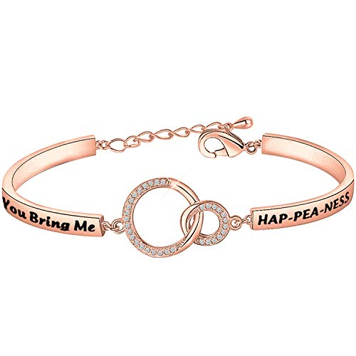 PLITI Funny Couple Gifts Pea Pod Jewelry Inspirational Couple Gifts Anniversary Gifts Twin Mama Gifts You Bring Me Hap-pea-ness Wedding Gifts for Her
