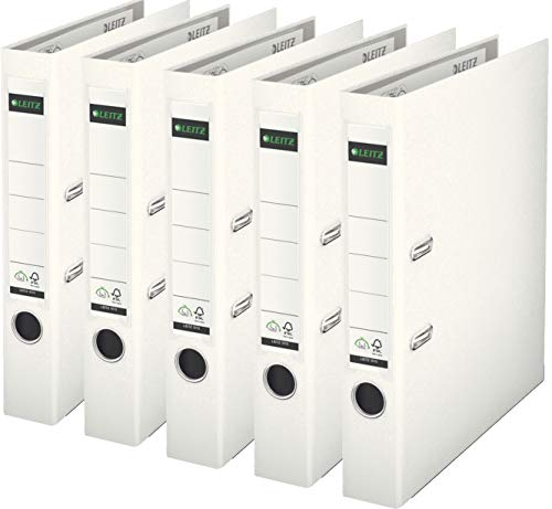 Leitz 10155001 Qualitäts-Ordner Plastik-Cover (A4, 5,2 cm Rückenbreite) Weiß (5er Pack)