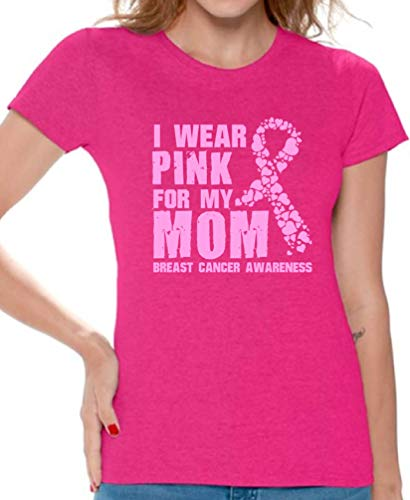 Breast Cancer Awareness Shirt - Survivor Pink Tshirt - Gift for Women Wear for Someone Special Pink for My Mom L