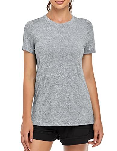 MOLERANI, Camisetas de Yoga para Mujer, Gimnasio Informal para Correr, Entrenamiento Relajado, Camiseta de Manga Corta, Ropa Deportiva, Camisetas Deportivas para Gimnasio(2XL,Gris