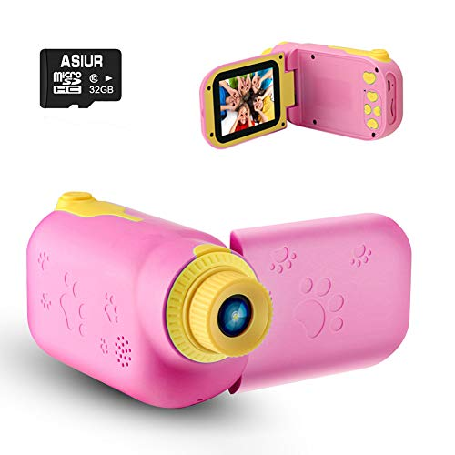 """ASIUR Kids Video Camera for Girls Gift, 1080P FHD Digital Kids Camera Camcorder Children Camera DV with 32GB SD Card & 2.4"""" Screen for Age 3-8"""