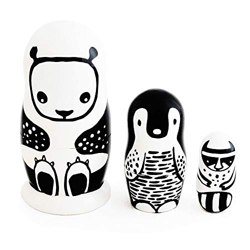 Wee Gallery, Set of 3 Nesting Dolls - Black and White Animals - Panda, Penguin, Racoon