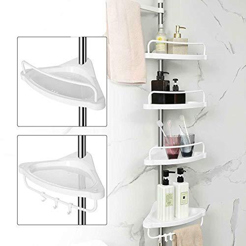 NZ Organizador de ducha esquinero de 4 niveles, organizador de ducha telescópico/estante esquinero ajustable (100-280 cm)