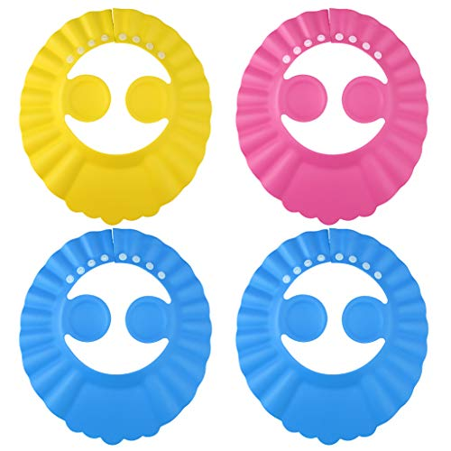4pcs Baby Shower Cap Bathing Cap, Lystaii Soft Adjustable Visor Hat Kids Wash Hair Shield with Ear Protection Safe Shampoo Shower Bath Accessories for Toddler Baby Kids Children