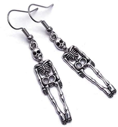 Skeleton Halloween Earrings Long Tibetan Charms on Nickel free Silver Tone Hooks product image