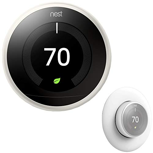 Nest Google Google T3017US Learning Thermostat (3rd Generation, White) Bundle with Deco...
