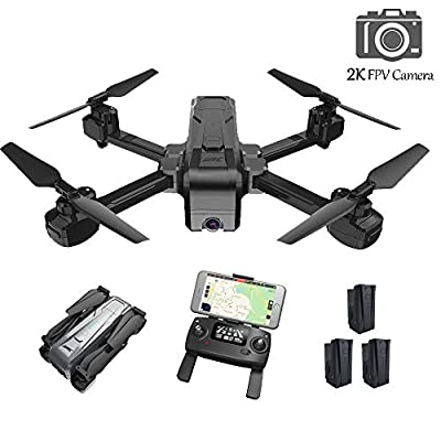 HScopter 5G WiFi Drone with Camera 2K FPV Live Video Drone for Kids Adults,RC Drone Quadcopter with GPS Return to Home/One Key Take Off/Land/Follow Me/Low Voltage Warning&Protection(3 Batteries) …