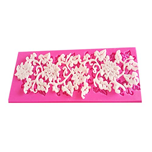 Doitsa - Molde de Encaje de Silicona para repostería, diseño de Flores y Leaf, para decoración de Tartas, con Lazo, para Hacer Manualidades, Herramientas de Cocina 16,5 x 6 x 0,5 cm