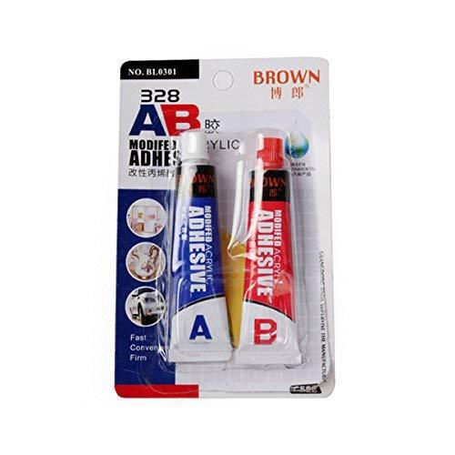 Braun 328 16 ml AB Modified Acryl-Klebstoff Super Sticky für Kunststoff Leder Gummi Reparatur