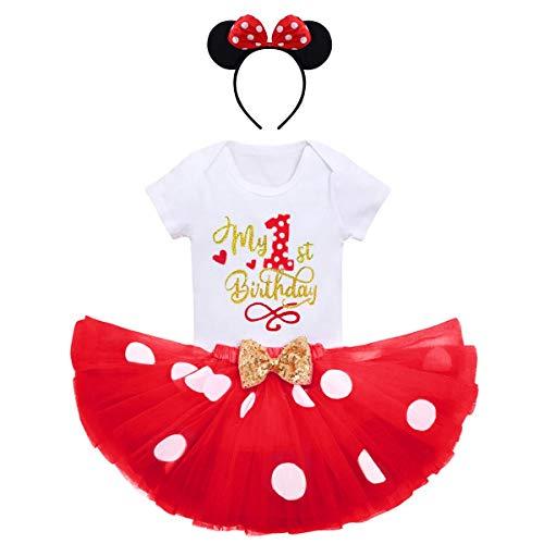 FYMNSI - Conjunto de ropa para bebé y niña, primera infancia, disfraz de ratón, de algodón, manga corta, body + falda de tul con lunares + diadema para la oreja, 3 piezas Rojo 1º cumpleaños. 1 Año