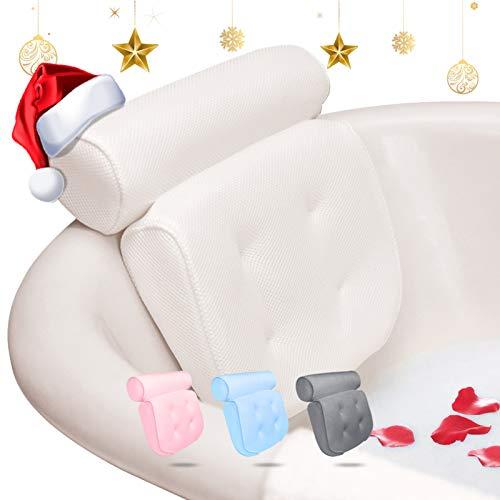 Essort Cuscino da Bagno, Cuscino Poggiatesta Vasca con Ventose, Cuscino da Collo per Vasche Idromassaggio per Spa di Casa, Poggiatesta Cuscino da Bagno (38 x 36 x 8,5 cm) (Bianco)