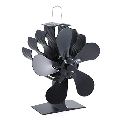 Pedkit - Ventilador para chimeneas de leña, ventilador para estufa de leña con 5 aspas, alimentado por calor, ventilador para horno para madera/quem