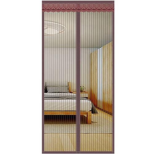 Mosquitera Magnética,Mosquiteras Para Puertas Pegado Sin Taladrar Mantiene Insectos Para Sala De Estar Balcón-85x210cm(33x83pulgada)-Color café