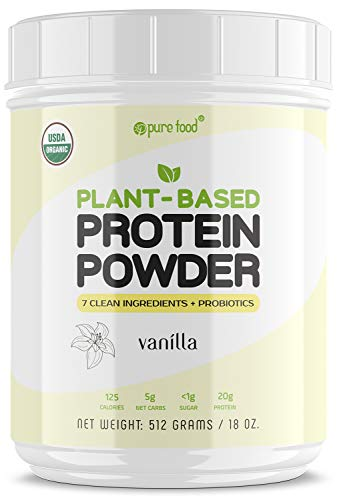 Pure Food: Plant Based Protein Powder with Probiotics | Organic, Clean, All Natural, Vegan, Vegetarian, Whole Superfood Nutritional Supplement with No Additives | Keto (Vanilla)