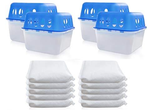 4 x Box + 8 x Granulat 400 Gramm Luftentfeuchter (4D) Feuchtigkeits-Stopper mit Nachfüll-Beutel Granulat Nachfüllpack Vliesbeutel Raumentfeuchter