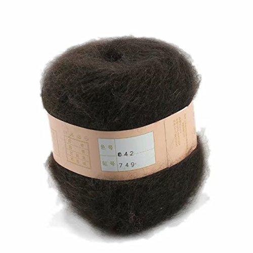 Artilin One Skein Soft&Warm Angola Mohair Cashmere Wool Knitting Yarn 50g,Coffee